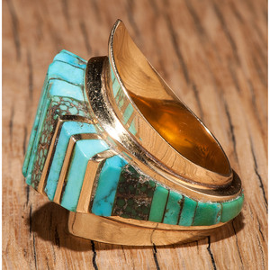 Charles Loloma (Hopi, 1921-1999) 14k Gold and Turquoise Ring