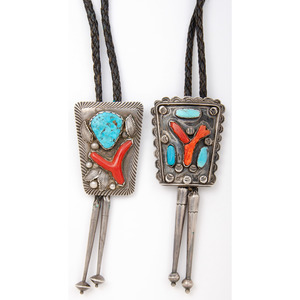 Navajo Silver, Coral, and Turquoise Bolo Ties, Attributed to Dan Simplicio (Zuni, 1917-1969)