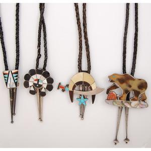 Lena and Wilford Quandelacy (Zuni, 20th century) Inlaid Shriner Bolo Tie, PLUS
