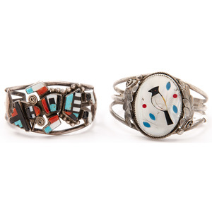 Jim Yazzie (Dine, 20th century) and Zuni Silver and Mosaic Inlay Cuff Bracelets