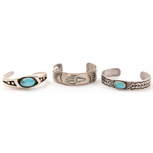 Navajo and Mexican Silver and Turquoise Cuff Bracelets