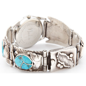 Zuni Silver and Turquoise Watch Band, Attributed to Dan Simplicio (Zuni, 1917-1969)