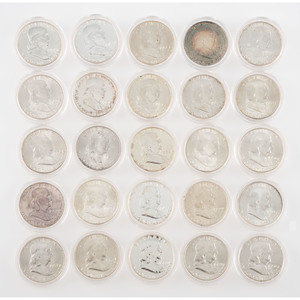 Franklin Half Dollar Coins and Proofs 1948-1963, Lot of Forty-six