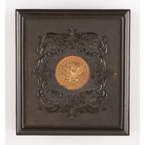 Very Rare Sixth Plate Union Case, Ten Dollar Gold Coin [Berg 1-71G], with Ambrotype of Three Sisters