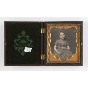 Sixth Plate Union Case, Liberty 1 with Very Very Rare Back Design Liberty, Stars in Corners [Berg 1-66/1-68], with Daguerreotype of a Girl