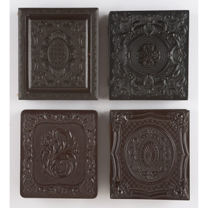 Four Geometric Sixth Plate Union Cases Containing Civil War Era Tintypes, Most Featuring Soldiers [Berg 3-70, 3-81, 3-102, 3-135]