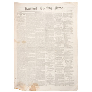 [Americana - 19th C. Newspapers]  One-Year Run of the Hartford Evening Press(CT), March 1, 1856 to Feb. 26, 1857