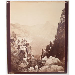 The Domes from Moran Point, Yosemite, Cal., Mammoth Plate Albumen Photograph by Carleton Watkins (Published by Taber)