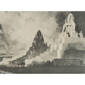 Prints Related to the Golden Gate International Exposition, 1939, Incl. Chesley Bonestell, Lot of 7