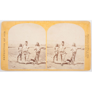 T.H. O'Sullivan Stereoview Apache Indians Ready for the War-Path, from the 1873 Wheeler Expedition