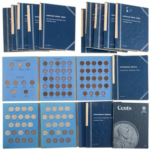 Partially Complete United States Nickel and Cent Folders, Lot of Sixteen