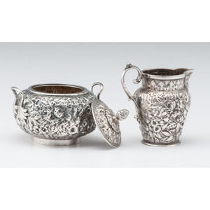 A.E. Warner Jr. Coin Silver Creamer and Sugar Bowl