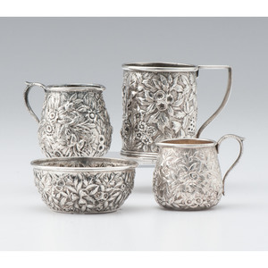 S. Kirk and Son Coin Silver Mug, Bowl and Creamers