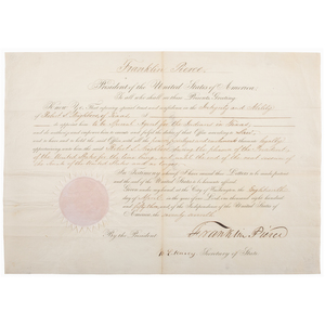 Franklin Pierce Presidential Signed Appointment for Texas Ranger Robert S. Neighbors as Special Agent for Indians in Texas