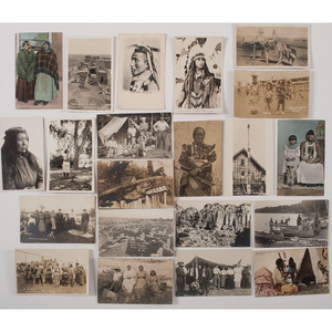 Assorted Real Photo Postcards of American Indian Subjects, Lot of 21