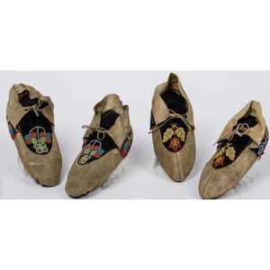 Two Pairs of Beaded Hide Great Lakes Moccasins, Deaccessioned From the Hopewell Museum, Hopewell, NJ