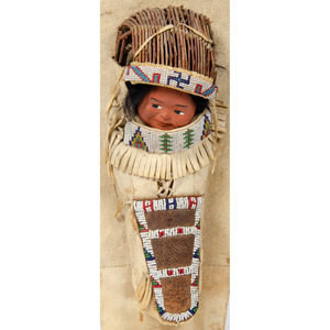 Ute Beaded Hide Doll Cradle Board with Skookum Doll, Deaccessioned From the Hopewell Museum, Hopewell, NJ