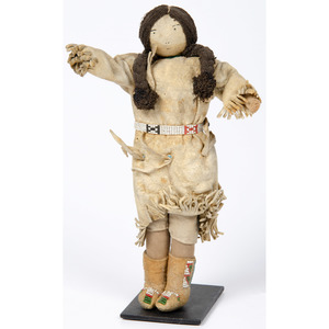 Plains Beaded Hide Doll, Deaccessioned From the Hopewell Museum, Hopewell, NJ