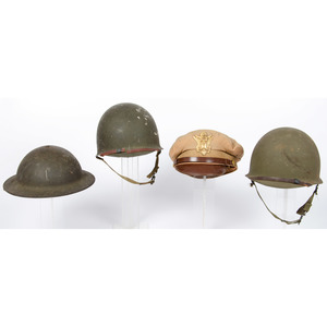Lot of Three U.S. Helmets and Dress Cap Attributed to Colonel Raymond Welch, U.S. Army Engineers