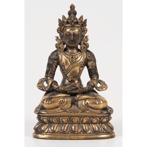 Tibetan Gilt Bronze Buddha 銅鎏金坐佛像