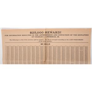 Charles Lindbergh Baby Kidnapping Reward Broadside, 1932