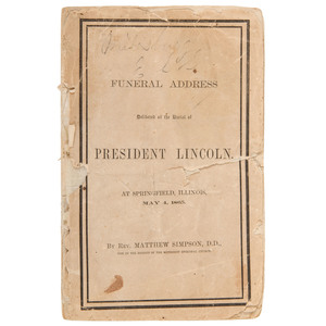 [Americana - Abraham Lincoln] 1865 Funeral Address Delivered at the Burial of Abraham Lincoln by Rev. Matthew Simpson