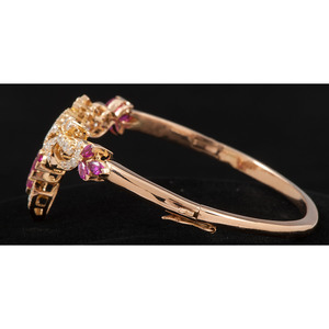 18k Gold Diamond and Ruby Bracelet