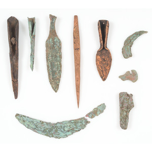 A Group of Old Copper Culture Tools, From the Collection of Roger