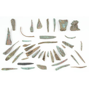 A Frame of Old Copper Culture Points and Tools, From the Collection of Roger
