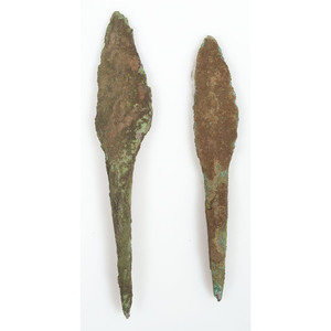 A Pair of Old Copper Culture Rat Tail Spears, From the Collection of Roger