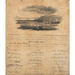 Revolutionary War, Battle of Bunker Hill, Pencil and Gouache Scene, Plus