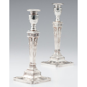 English Neoclassical-style Sterling Silver Candlesticks