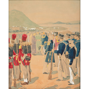 British Jack Tars and Sepoys in China, 1870, Watercolor