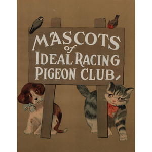 Mascots of Ideal Racing Pigeon Club, Charming Poster Featuring Dog and Cat