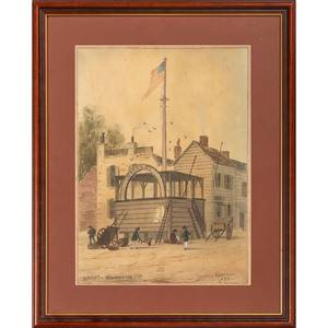 Thomas Wakeman (English, 1812-1878), Watercolor, Stump - Washington USA