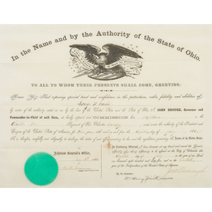 Captain George Washington Cable, 8th OVC - Civil War Collection Featuring Commission, Swords, and Belt Plate
