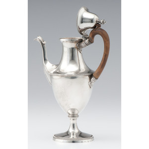 George III Sterling Coffee Pot, John Langlands & John Robertson