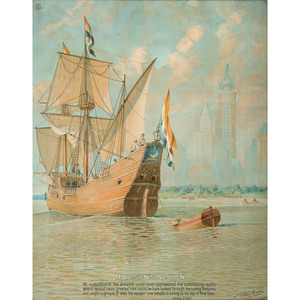 Yacht Flags Lithograph on Fabric by Schwab & Wolf, Plus Hudson's Vision Lithograph