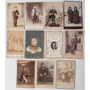 Cabinet Cards and CDVs, Lot of 218, Including Occupational Images, Dogs, Military, and More.