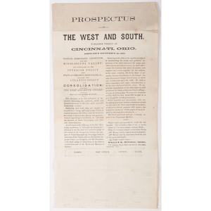 Prospectus of the West and South, Cincinnati, Ohio, Broadside Promoting Publication Interested in