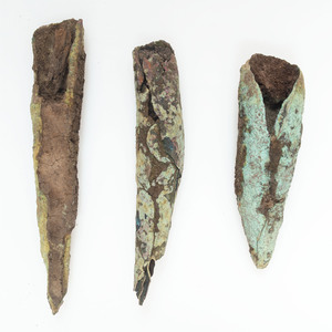 Old Copper Culture Rolled Conical Points with Wood Still In Socket, From the Collection of Roger