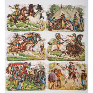 Buffalo Bill/ Wild West Show, Group of Six Chromo Die-Cuts