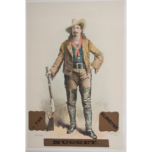 The Klondyke Nugget, S.F. Cody Wild West Show Poster Featuring a Full Standing View of the Showman