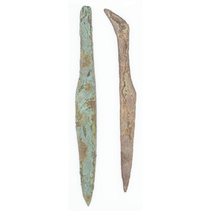 A Pair of Large Old Copper Culture Spear Points, From the Collection of Roger