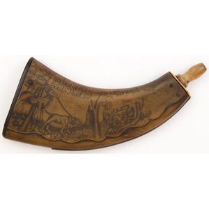Engraved Flat Powder Horn