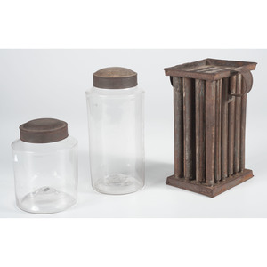 Blown Glass Storage Jars and Tin Candle Mold