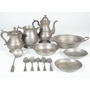 Pewter Pitchers, Bowls and Spoons