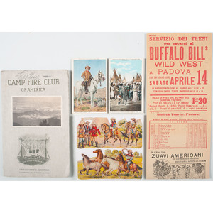 Buffalo Bill Cody Group, Including Signed Program, Die-Cuts, Italian Broadside, and Postcards