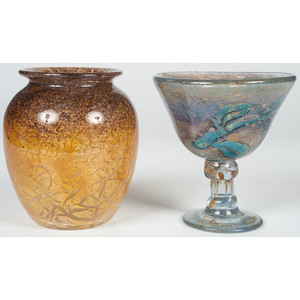 Art Glass Compote and Vase
