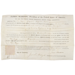 [Americana - Autographs - President Madison Land Grant]  1815 Partially Printed Land Grant Signed by President James Madison & Josiah Meigs
